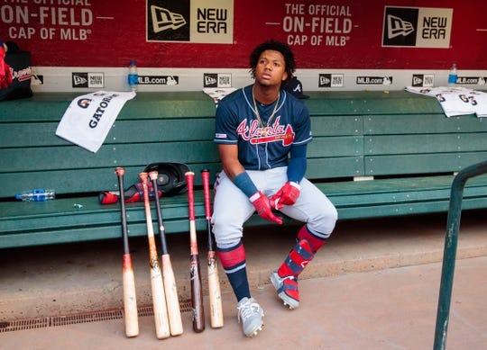 May 9, 2019; Phoenix, AZ, USA; Atlanta Braves outfielder Ronald Acuna Jr. against the Arizona Diamondbacks at Chase Field. Mandatory Credit: Mark J. Rebilas-USA TODAY Sports