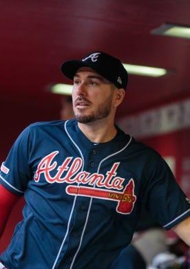 May 9, 2019; Phoenix, AZ, USA; Atlanta Braves outfielder Matt Joyce against the Arizona Diamondbacks at Chase Field. Mandatory Credit: Mark J. Rebilas-USA TODAY Sports