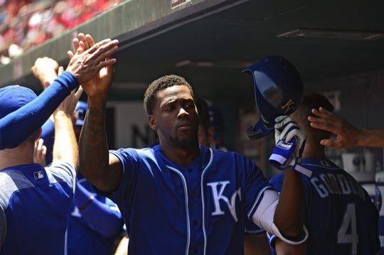 May 22, 2019; St. Louis, MO, USA; Kansas City Royals right fielder Jorge Soler (12) is congratulated after hitting a three run home run against the St. Louis Cardinals during the third inning at Busch Stadium. Mandatory Credit: Jeff Curry-USA TODAY Sports
