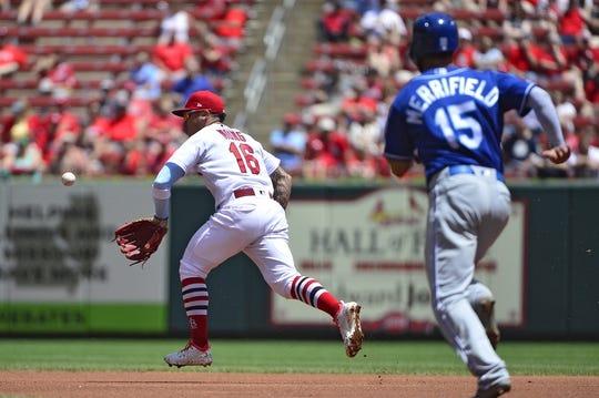 May 22, 2019; St. Louis, MO, USA; St. Louis Cardinals second baseman Kolten Wong (16) glove flips to force out Kansas City Royals center fielder Whit Merrifield (15) during the first inning at Busch Stadium. Mandatory Credit: Jeff Curry-USA TODAY Sports