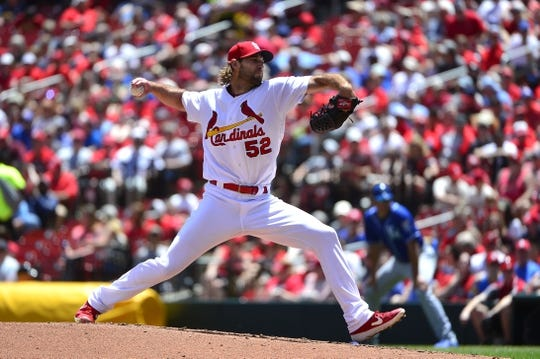 May 22, 2019; St. Louis, MO, USA; St. Louis Cardinals starting pitcher Michael Wacha (52) pitches during the third inning against the Kansas City Royals at Busch Stadium. Mandatory Credit: Jeff Curry-USA TODAY Sports