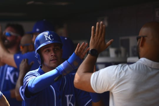 May 22, 2019; St. Louis, MO, USA; Kansas City Royals second baseman Nicky Lopez (1) is congratulated by teammates after scoring during the third inning against the St. Louis Cardinals at Busch Stadium. Mandatory Credit: Jeff Curry-USA TODAY Sports