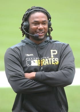 May 23, 2019; Pittsburgh, PA, USA;  Pittsburgh Pirates first baseman Josh Bell (55) is interviewed by the MLB Network prior to playing the Colorado Rockies at PNC Park. Mandatory Credit: Charles LeClaire-USA TODAY Sports