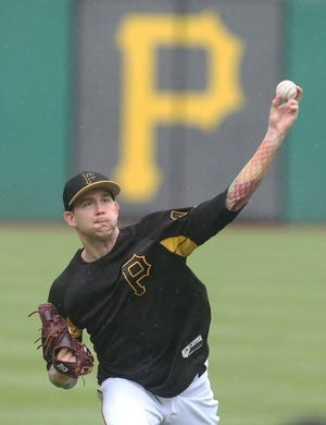 May 23, 2019; Pittsburgh, PA, USA;  Pittsburgh Pirates relief pitcher Steven Brault (43) throws in the outfield before playing the Colorado Rockies at PNC Park. Mandatory Credit: Charles LeClaire-USA TODAY Sports