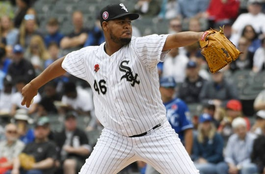 May 27, 2019; Chicago, IL, USA; Chicago White Sox starting pitcher Ivan Nova (46) throws the ball against the Kansas City Royals during the first inning at Guaranteed Rate Field. Mandatory Credit: David Banks-USA TODAY Sports