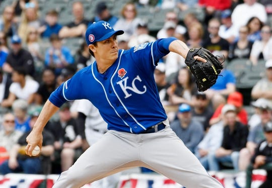 May 27, 2019; Chicago, IL, USA; Kansas City Royals starting pitcher Homer Bailey (21) throws the ball against the Chicago White Sox during the first inning at Guaranteed Rate Field. Mandatory Credit: David Banks-USA TODAY Sports