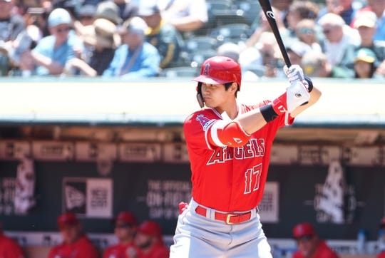 May 29, 2019; Oakland, CA, USA; Los Angeles Angels designated hitter Shohei Ohtani (17) at bat against the Oakland Athletics during the first inning at Oakland Coliseum. Mandatory Credit: Kelley L Cox-USA TODAY Sports