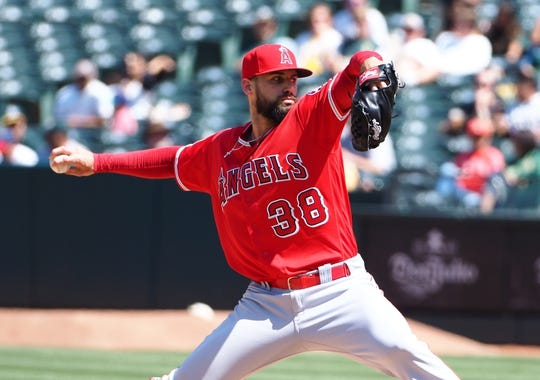 May 29, 2019; Oakland, CA, USA; Los Angeles Angels relief pitcher Justin Anderson (38) pitches against the Oakland Athletics during the seventh inning at Oakland Coliseum. Mandatory Credit: Kelley L Cox-USA TODAY Sports