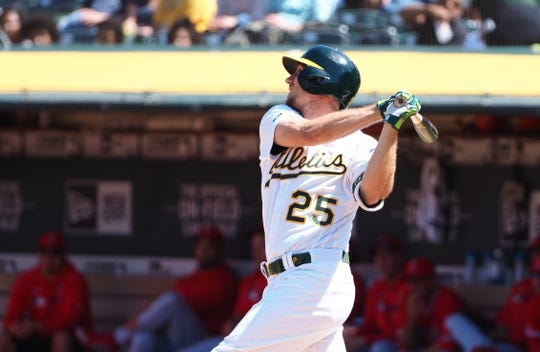 May 29, 2019; Oakland, CA, USA; Oakland Athletics right fielder Stephen Piscotty (25) hits a double against the Los Angeles Angels during the seventh inning at Oakland Coliseum. Mandatory Credit: Kelley L Cox-USA TODAY Sports