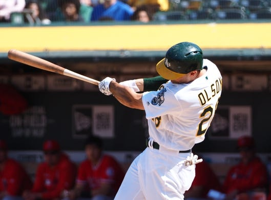 May 29, 2019; Oakland, CA, USA; Oakland Athletics first baseman Matt Olson (28) hits a two-run home run against the Los Angeles Angels during the eighth inning at Oakland Coliseum. Mandatory Credit: Kelley L Cox-USA TODAY Sports