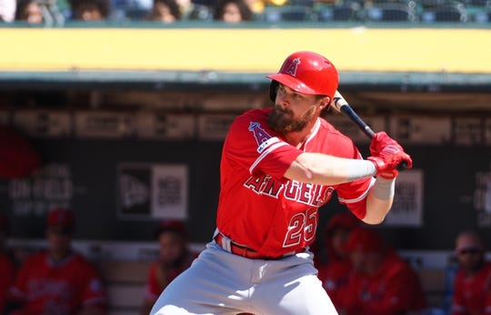 May 29, 2019; Oakland, CA, USA; Los Angeles Angels first baseman Jared Walsh (25) prepares to hit against the Oakland Athletics during the ninth inning at Oakland Coliseum. Mandatory Credit: Kelley L Cox-USA TODAY Sports