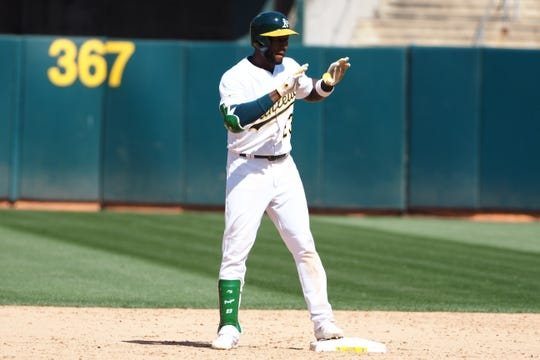 May 29, 2019; Oakland, CA, USA; Oakland Athletics second baseman Jurickson Profar (23) reacts on second base after a double against the Los Angeles Angels during the ninth inning at Oakland Coliseum. Mandatory Credit: Kelley L Cox-USA TODAY Sports