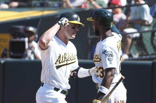 May 29, 2019; Oakland, CA, USA; Oakland Athletics designated hitter Mark Canha (20) celebrates with second baseman Jurickson Profar (23) after a solo home run against the Los Angeles Angels during the ninth inning at Oakland Coliseum. Mandatory Credit: Kelley L Cox-USA TODAY Sports