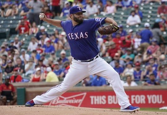 Jun 1, 2019; Arlington, TX, USA; Texas Rangers starting pitcher Lance Lynn (35) delivers against the Kansas City Royals at Globe Life Park in Arlington. Mandatory Credit: Jim Cowsert-USA TODAY Sports