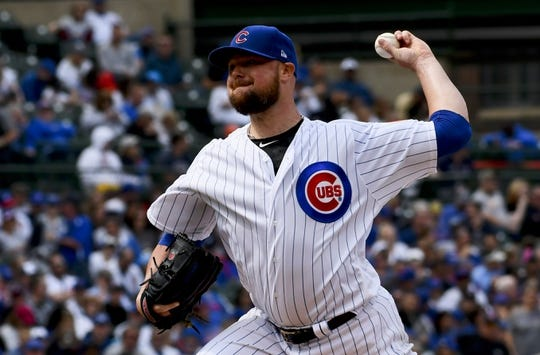 Jun 3, 2019; Chicago, IL, USA; Chicago Cubs starting pitcher Jon Lester (34) delivers against the Los Angeles Angels in the second inning at Wrigley Field. Mandatory Credit: Matt Marton-USA TODAY Sports