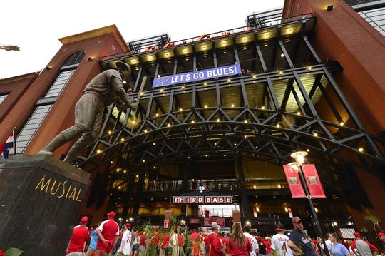 Jun 4, 2019; St. Louis, MO, USA; A view of the Stan Musial statue with a St. Louis Blues banner prior to a game between the St. Louis Cardinals and the Cincinnati Reds at Busch Stadium. Mandatory Credit: Jeff Curry-USA TODAY Sports