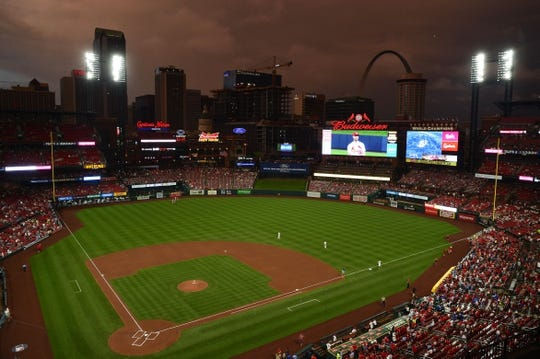 Jun 4, 2019; St. Louis, MO, USA; A general view of Busch Stadium as the sun sets prior to the game between the St. Louis Cardinals and the Cincinnati Reds. Mandatory Credit: Jeff Curry-USA TODAY Sports
