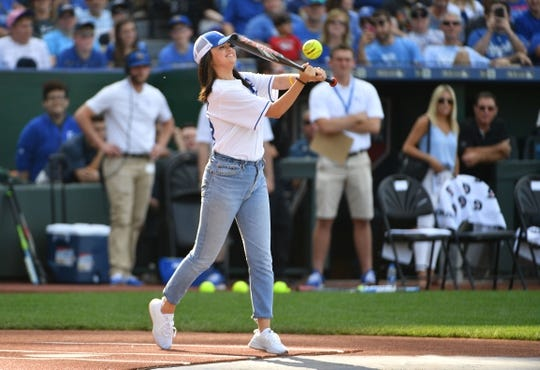 Jun 7, 2019; Kansas City, MO, USA; Actor and musician Selena Gomez bats during the Big Slick celebrity softball game at Kauffman Stadium. Mandatory Credit: Denny Medley-USA TODAY Sports