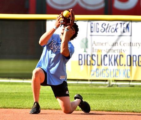 Jun 7, 2019; Kansas City, MO, USA; Kansas City Chiefs quarterback Patrick Mahomes catches a fly ball during the Big Slick celebrity softball game at Kauffman Stadium. Mandatory Credit: Denny Medley-USA TODAY Sports