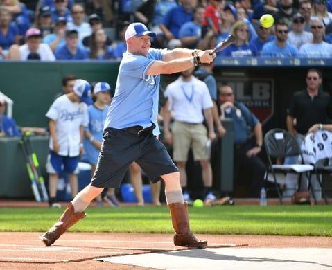 Jun 7, 2019; Kansas City, MO, USA; Movie and television actor David Koechner bats during the Big Slick celebrity softball game at Kauffman Stadium. Mandatory Credit: Denny Medley-USA TODAY Sports