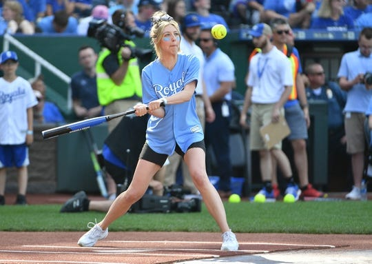 Jun 7, 2019; Kansas City, MO, USA; Actor and comedian Heidi Gardner bats during the Big Slick celebrity softball game at Kauffman Stadium. Mandatory Credit: Denny Medley-USA TODAY Sports