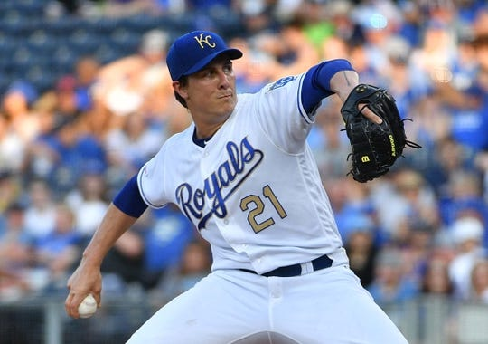 Jun 7, 2019; Kansas City, MO, USA; Kansas City Royals starting pitcher Homer Bailey (21) delivers a pitch during the first inning against the Chicago White Sox at Kauffman Stadium. Mandatory Credit: Denny Medley-USA TODAY Sports