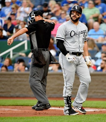 Jun 7, 2019; Kansas City, MO, USA; Chicago White Sox designated hitter Yonder Alonso (17) reacts after striking out in the first inning against the Kansas City Royals at Kauffman Stadium. Mandatory Credit: Denny Medley-USA TODAY Sports