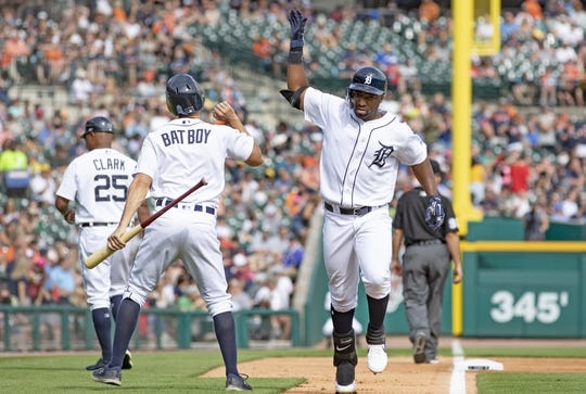 Jun 8, 2019; Detroit, MI, USA; Detroit Tigers left fielder Christin Stewart (14) celebrates after hitting a solo home run during the fifth inning of the game against the Minnesota Twins at Comerica Park. Mandatory Credit: Leon Halip-USA TODAY Sports