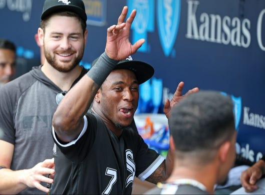 Jun 9, 2019; Kansas City, MO, USA; Chicago White Sox shortstop Tim Anderson (7) reacts before a game against the Kansas City Royals at Kauffman Stadium. Mandatory Credit: Jay Biggerstaff-USA TODAY Sports
