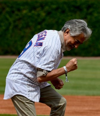 Jun 3, 2019; Chicago, IL, USA; Actor Joe Mantegna, throws out a ceremonial first pitch before the game between the Chicago Cubs and the Los Angeles Angels at Wrigley Field. Mandatory Credit: Matt Marton-USA TODAY Sports