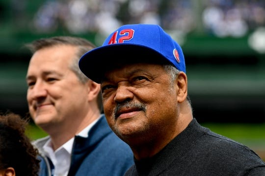 Jun 3, 2019; Chicago, IL, USA; Chicago Cubs chairman Tom Ricketts and Rev. Jesse Jackson before the game against the Los Angeles Angels at Wrigley Field. Mandatory Credit: Matt Marton-USA TODAY Sports