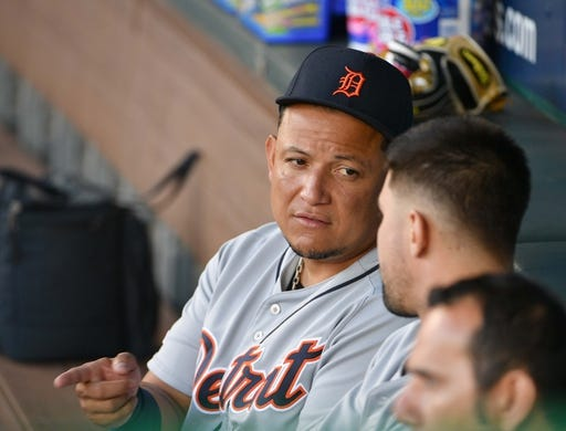 Jun 12, 2019; Kansas City, MO, USA; Detroit Tigers designated hitter Miguel Cabrera (24) talks with team mates in the dugout before the game against the Kansas City Royals at Kauffman Stadium. Mandatory Credit: Denny Medley-USA TODAY Sports