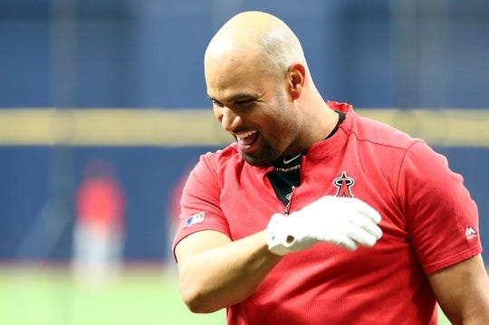 Jun 13, 2019; St. Petersburg, FL, USA; Los Angeles Angels first baseman Albert Pujols (5) works out prior to the game against the Tampa Bay Rays at Tropicana Field. Mandatory Credit: Kim Klement-USA TODAY Sports