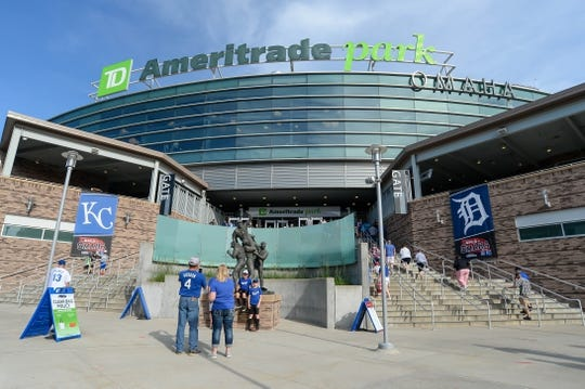 Jun 13, 2019; Omaha, NE, USA; Fans walk into the stadium before the game between the Kansas City Royals and the Detroit Tigers at TD Ameritrade Park Omaha. Mandatory Credit: Steven Branscombe-USA TODAY Sports