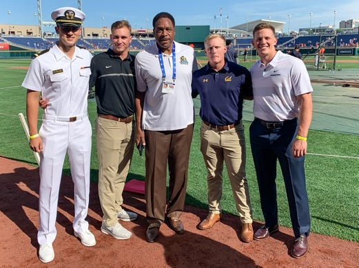 Jun 13, 2019; Omaha, NE, USA; Hall of Famer Dave Winfield (center) poses with Golden Spike Finalists Noah Song of Navy and JJ Bleday of Vanderbilt and Andrew Vaughn of Cal and Adley Rutschman of Oregon State before the game between the Kansas City Royals and the Detroit Tigersat TD Ameritrade Park Omaha. Mandatory Credit: Steven Branscombe-USA TODAY Sports