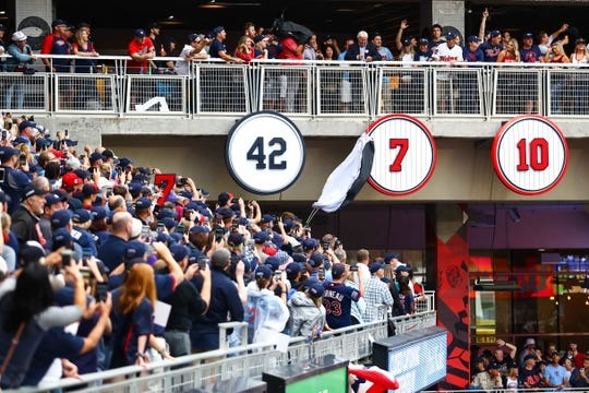Jun 15, 2019; Minneapolis, MN, USA; Minnesota Twins former player Joe Mauer has his number unveiled during his number retirement ceremony before a game against the Kansas City Royals at Target Field. Mandatory Credit: David Berding-USA TODAY Sports