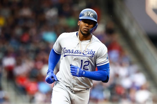 Jun 15, 2019; Minneapolis, MN, USA; Kansas City Royals designated hitter Jorge Soler (12) rounds the bases after hitting a two-run home run in the first inning against the Minnesota Twins at Target Field. Mandatory Credit: David Berding-USA TODAY Sports