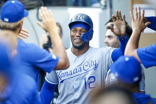Jun 17, 2019; Seattle, WA, USA; Kansas City Royals designated hitter Jorge Soler (12) is greeted in the dugout after scoring a run against the Seattle Mariners during the first inning at T-Mobile Park. Mandatory Credit: Joe Nicholson-USA TODAY Sports