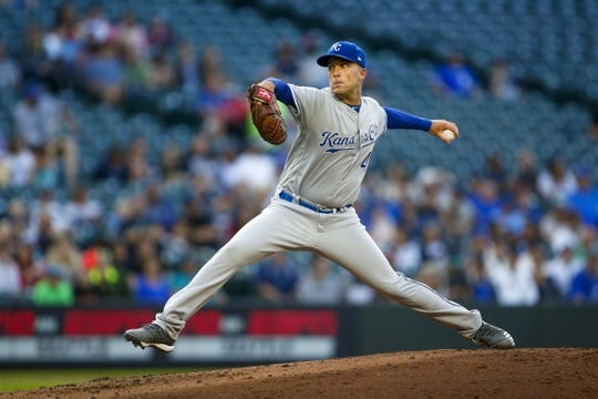 Jun 17, 2019; Seattle, WA, USA; Kansas City Royals starting pitcher Danny Duffy (41) throws against the Seattle Mariners during the first inning at T-Mobile Park. Mandatory Credit: Joe Nicholson-USA TODAY Sports
