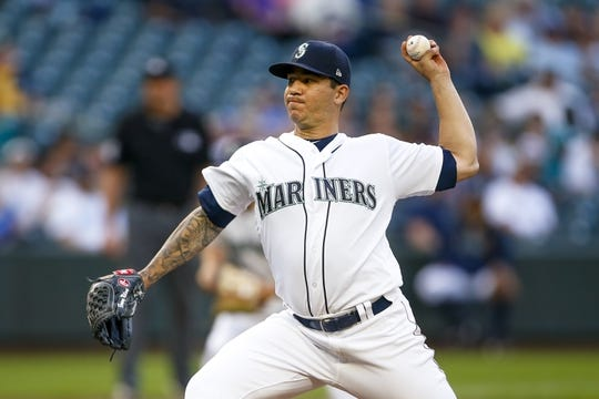 Jun 17, 2019; Seattle, WA, USA; Seattle Mariners relief pitcher Tommy Milone (57) throws against the Kansas City Royals during the second inning at T-Mobile Park. Mandatory Credit: Joe Nicholson-USA TODAY Sports