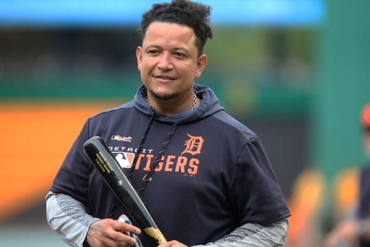 Jun 18, 2019; Pittsburgh, PA, USA;  Detroit Tigers first baseman Miguel Cabrera (24) at the batting cage before playing the Pittsburgh Pirates at PNC Park. Mandatory Credit: Charles LeClaire-USA TODAY Sports