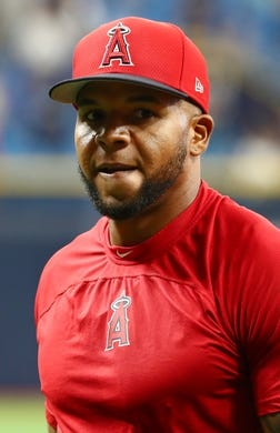 Jun 13, 2019; St. Petersburg, FL, USA; Los Angeles Angels center fielder Brian Goodwin (18) at Tropicana Field. Mandatory Credit: Kim Klement-USA TODAY Sports