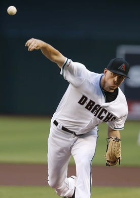 Jun 21, 2019; Phoenix, AZ, USA; Arizona Diamondbacks relief pitcher Taylor Clarke (45) in the first inning during a baseball game against the San Francisco Giants at Chase Field. Mandatory Credit: Rick Scuteri-USA TODAY Sports