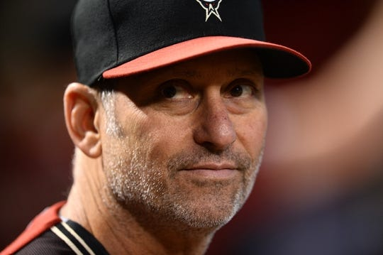 Jun 23, 2019; Phoenix, AZ, USA; Arizona Diamondbacks manager Torey Lovullo (17) looks on prior to the first inning against the San Francisco Giants at Chase Field. Mandatory Credit: Joe Camporeale-USA TODAY Sports