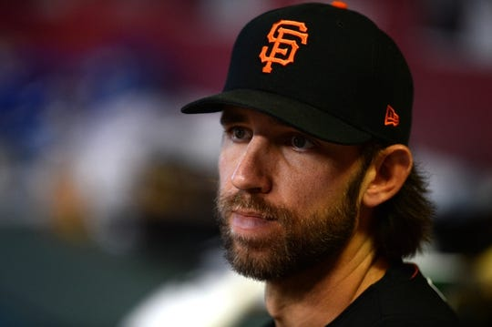 Jun 23, 2019; Phoenix, AZ, USA; San Francisco Giants starting pitcher Madison Bumgarner (40) looks on against the Arizona Diamondbacks during the third inning at Chase Field. Mandatory Credit: Joe Camporeale-USA TODAY Sports
