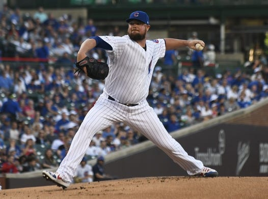 Jun 24, 2019; Chicago, IL, USA; Chicago Cubs starting pitcher Jon Lester (34) delivers the ball against the Atlanta Braves during the first inning at Wrigley Field. Mandatory Credit: David Banks-USA TODAY Sports