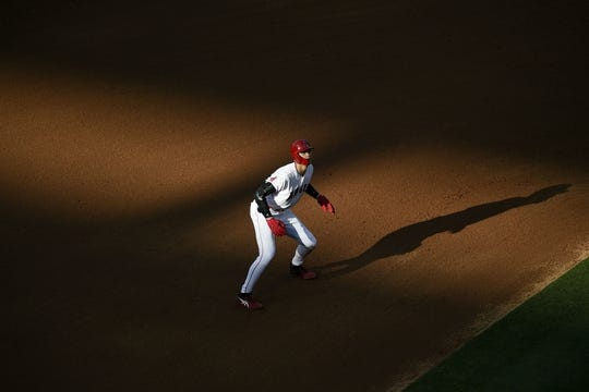 Jun 26, 2019; Anaheim, CA, USA; Los Angeles Angels designated hitter Shohei Ohtani (17) leads off second base during the fourth inning against the Cincinnati Reds at Angel Stadium of Anaheim. Mandatory Credit: Kelvin Kuo-USA TODAY Sports