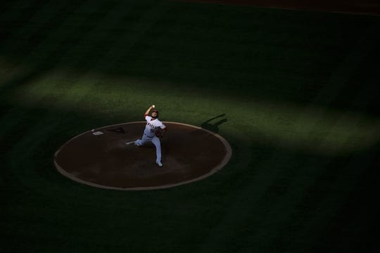 Jun 26, 2019; Anaheim, CA, USA; Los Angeles Angels starting pitcher Jaime Barria (51) pitches during the fourth inning against the Cincinnati Reds at Angel Stadium of Anaheim. Mandatory Credit: Kelvin Kuo-USA TODAY Sports