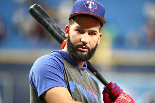 Jun 28, 2019; St. Petersburg, FL, USA; Texas Rangers right fielder Nomar Mazara (30) works out prior to a game against the Tampa Bay Rays at Tropicana Field. Mandatory Credit: Kim Klement-USA TODAY Sports