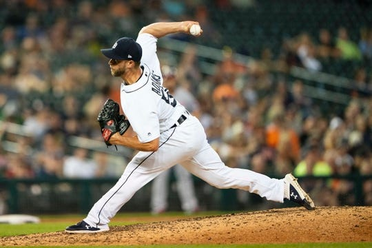 Tigers pitcher Austin Adams delivers a pitch during the ninth inning of the Tigers' 3-1 loss on Friday, June 29, 2019, at Comerica Park.  Mlb Washington Nationals At Detroit Tigers